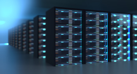 Corridor of  server room with server racks in datacenter. 3d illustration
