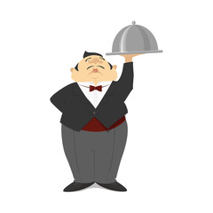 A waiter in a suit holds a tray. Waiter with a dish. Cartoon Vector
