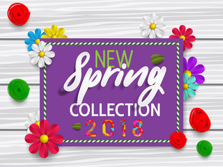 "Spring banner ""new collection"" with paper flowers for online shopping, advertising actions, magazines and websites. Spring new collection background with beautiful colorful flower."