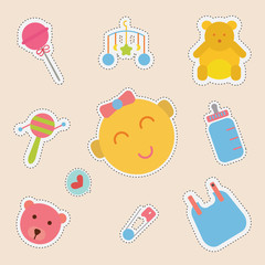 set of cute sticker with baby