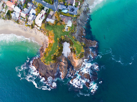 Aerial view of Twin Points at Shaw's Cove in Laguna Beach