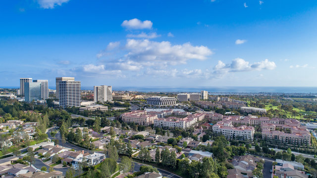 Aerial view of Fashion Island mall in Newport Beach, Orange County, California