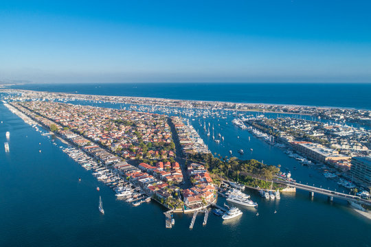 Aerial view of Lido Island in Newport Beach harbor in Orange County, California