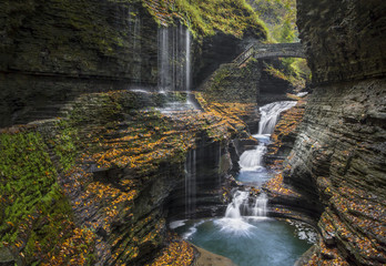 Rainbow Falls Autumn - Watkins Glen State Park, New York