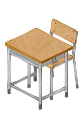 学校机、椅子