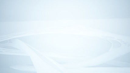 Abstract white parametric interior with window. 3D illustration and rendering.