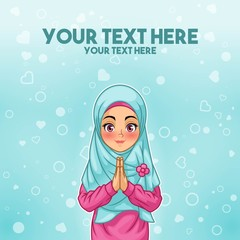 Young muslim woman smiling greeting with welcoming gesture hands put together, cartoon character design, against tosca background, vector illustration.