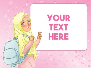 Young muslim woman student cheerful holding backpack and showing peace gesture, cartoon character design, against pink background, vector illustration.