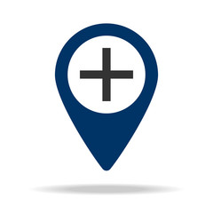 plus sign in blue map pin icon. Element of map point for mobile concept and web apps. Icon for website design and development, app development. Premium icon