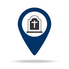 place cemetery in blue map pin icon. Element of map point for mobile concept and web apps. Icon for website design and development, app development. Premium icon
