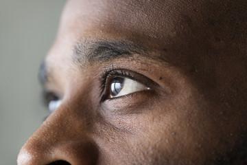Closeup of an eye of a black man