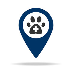 place of veterinary medicine in blue map pin icon. Element of map point for mobile concept and web apps. Icon for website design and development, app development. Premium icon
