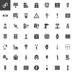 Electrician elements vector icons set, modern solid symbol collection, filled style pictogram pack. Signs, logo illustration. Set includes icons as wire, high voltage, electric meter, power supply