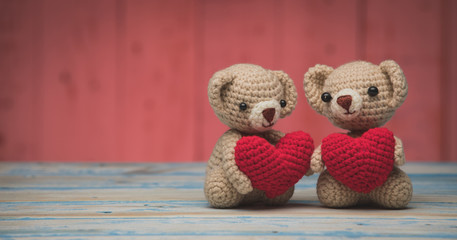 Couple teddy Bear on table,Valentines Day Background