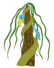The tropics. Macaw parrot vector illustration. Tree with lianas.