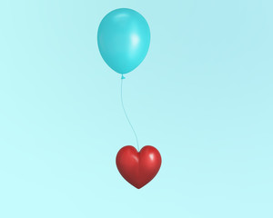 Outstanding red decorative heart on a balloon against a on blue pastel background.Idea illustration of love and Valentine's Day. Romantic image. minimal love concept.