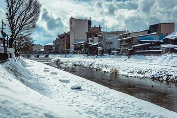 The town of Takayama in winter, Gifu, Japan