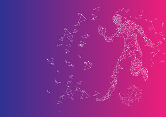 football match, Sports Graphics particles, Network connection turned into, illustration.