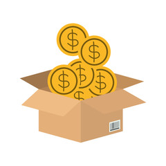 box carton with coins money isolated icon vector illustration design
