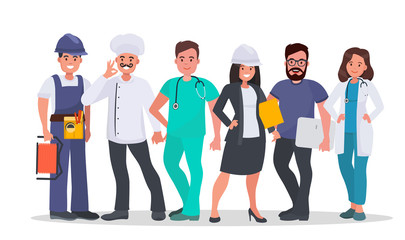 Set of people of different occupations Doctor, Nurse, IT-specialist, Engineer, Chef, Electrician. World's most in demand proffesions. Labor day concept vector illustration.