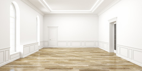 Classic white empty space interior. 3d render illustration.