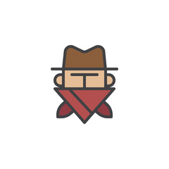 Robber in mask filled outline icon, line vector sign, linear colorful pictogram isolated on white. Cowboy bandit in hat symbol, logo illustration. Pixel perfect vector graphics