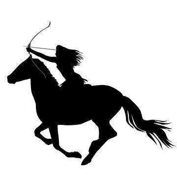Black silhouette of an amazon warrior woman riding a horse