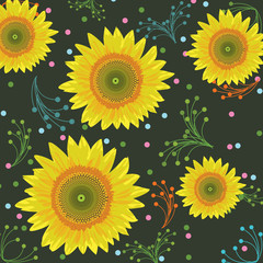 Sunflower background, seamless pattern - Vector illustration