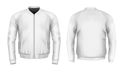 Bomber jacket in white. Front and back views. Vector Wall mural