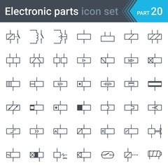 Electric symbols set of relays and electromagnets