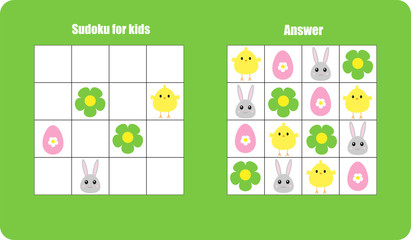 Sudoku game with easter pictures (egg, bunny, chick) for children, easy level, education game for kids, preschool worksheet activity, task for the development of logical thinking, vector illustration