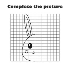 Complete the picture, black white cartoon bunny, drawing skills training, easter educational game for the development of children, kids preschool activity, printable worksheet, vector illustration