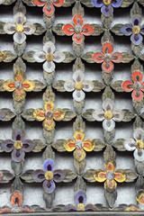 Detail of wooden wall with carved floral ornament, North Korea