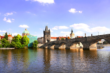 Charles Bridge in Prague, capital city of Czech republic, Europe