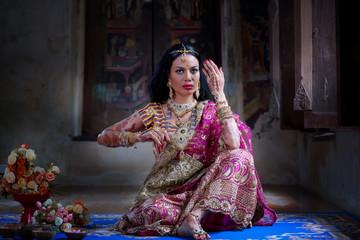 Close up Beautiful indian girl Young hindu woman model with kundan jewelry.