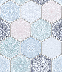 pattern in style of colorful floral patchwork