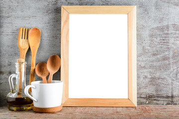 empty wooden frame with isolated white background in kitchen interior.