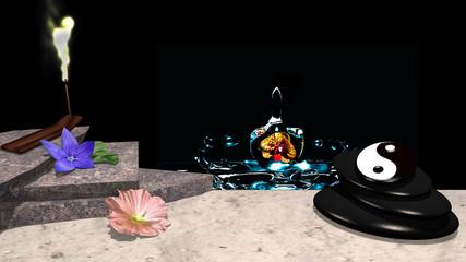 Lila und rose Blüte mit Orangenblatt, Steinplatten, Räucherstäbchen mit leuchtendem Rauch, ein Steinhaufen aus Bimsstein mit yin und Yang Symbol . 3d render