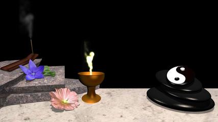 Lila und rosa Blüte mit Orangenblatt, Steinplatten, Räucherstäbchen, ein Steinhaufen aus Bimsstein mit yin und Yang Symbol und ein goldener Kelch mit Flamme. 3d render