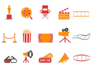 orange and red color series movies icons set