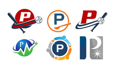 Logotype P Modern Template Set
