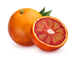 One whole red blood oranges and half isolated on white background