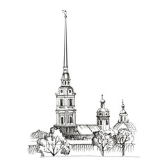 St. Petersburg architectural monuments, travel sketches, line drawing. Peter-Pavel's Fortress