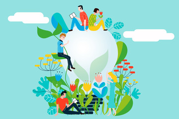 Taking care of the environment and the earth loving the garden and nature - Vector conceptual illustration for ecology concept and ecological idea