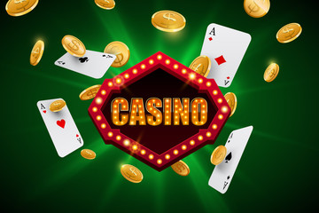 Casino banner with falling gold coins and aces on abstract green background