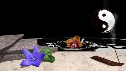 Eine lila Blüte mit Orangenblatt liegt vor Steinplatten im Sand. Dazu ein Räucherstäbchen und im Hintergrund eine Orchidee die im Wasser versinkt. 3d render