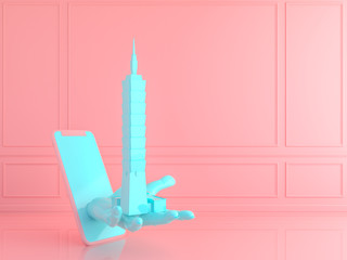 Love travel love Taiwan concept.3d render;minimal pastel concept.