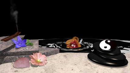 verschiedene Blumen, Räucherstäbchen, Steinhaufen aus Bimsstein, yin und yang Symbol, Rosenquarz und eine Orchidee die im Wasser versinkt vor schwarzem Hintergrund. 3d render