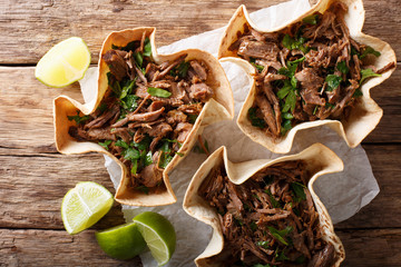 Mexican barbacoa with beef, lime and greens close-up on paper. Horizontal top view
