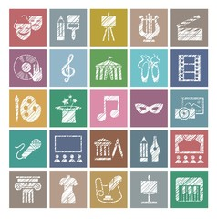 Culture and art, icons, shading pencil, white, color, vector. Leisure and cultural activities. Cultural events and the attributes of art. Flat, square icons. Vector picture.